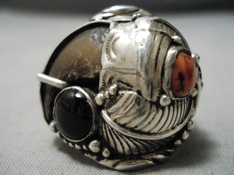Detailed And Huge!! Vintage Native American Navajo Sterling Silver Leaf Coral Ring