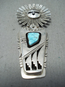 Dynamic Native American Navajo Kingman Turquoise Sterling Silver Pin/ Pendant