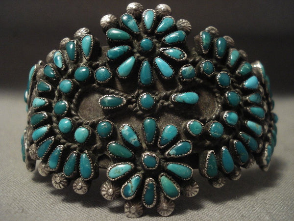 1920's Vintage Navajo Cerrillos Turquoise Native American Jewelry Silver Bracelet