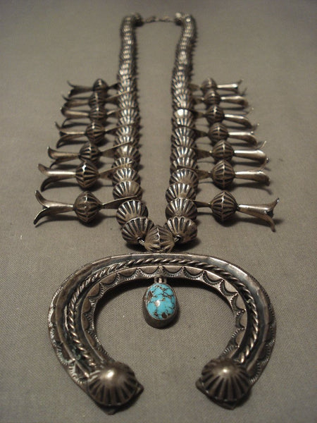 1930's Vintage Navajo Native American Jewelry jewelry Hogan Bead Bisbee Turquoise Squash Blossom Necklace