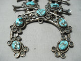 Women's Vintage Native American Navajo Quality Turquoise Sterling Silver Squash Blossom Necklace