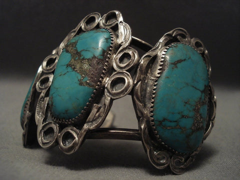1950's Enormous Old Navajo Green Turquoise Native American Jewelry Silver Bracelet-Nativo Arts
