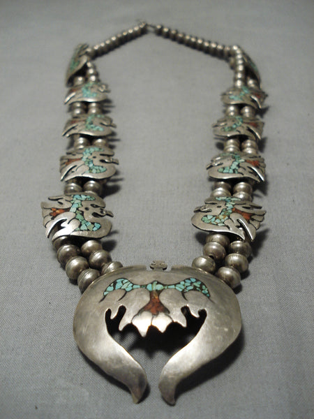 Native American Vintage Navajo Turquoise Coral Sterling Silver Bird Squash Blossom Necklace Old