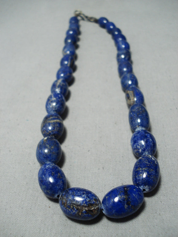 Astonishing Navajo Lapis Sterling Silver Necklace Native American