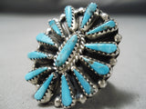 Marvelous Vintage Native American Navajo Turquoise Sun Sterling Silver Ring