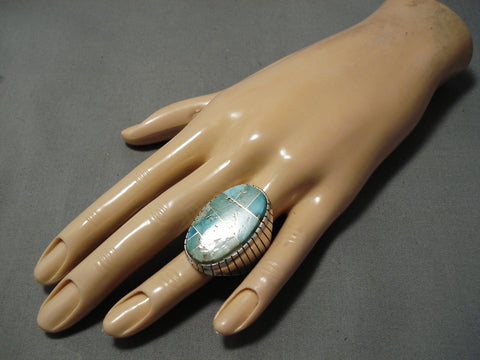 Incredible Vintage Native American Navajo Blue Green Turquoise Sterling Silver Ring Old