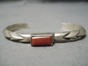 Exceptional Vintage Native American Navajo Squared Coral Sterling Silver Bracelet Old
