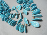Striking Vintage Native American Navajo Turquoise Teardrop Heishi Necklace Old