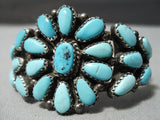 Small Wrist Vintage Native American Navajo Tears Of Joy Turquoise Stelring Silver Bracelet Old