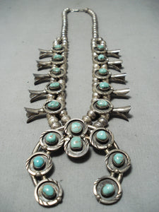 Women's Vintage Native American Navajo Royston Turquoise Sterling Silver Squash Blossom Necklace