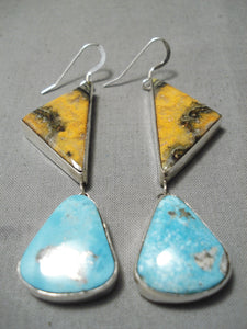 Fabulous Native American Navajo Bee Jasper Sterling Silver Turquoise Earrings