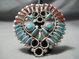 Exquisite Vintage Native American Navajo Coral Turquoise Sterling Silver Huge Ring