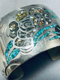 Wide Massive Intricate Vintage Native American Navajo Turquoise Sterling Silver Bracelet