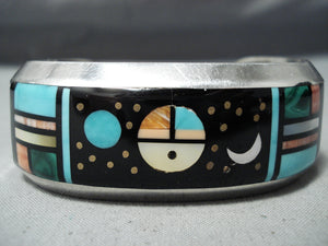 Space Inlay Vintage Native American Navajo Turquoise Sterling Silver Bracelet Cuff