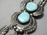 Tremendous Vintage Native American Navajo Turquoise Sterling Silver Caico Lake Necklace Old