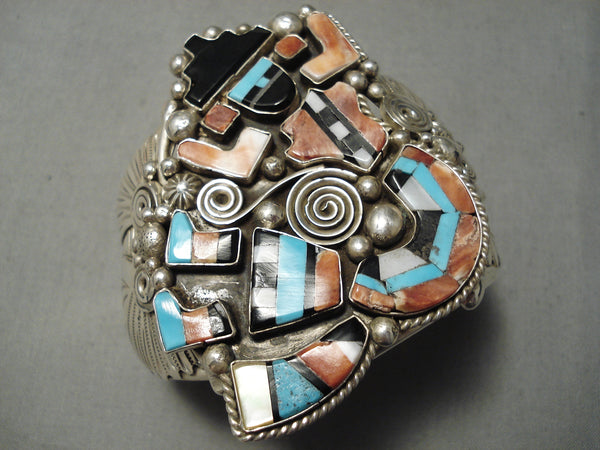 One Of The Best Huge Native American Navajo Turquoise Kachina Inlay Sterling Silver Bracelet