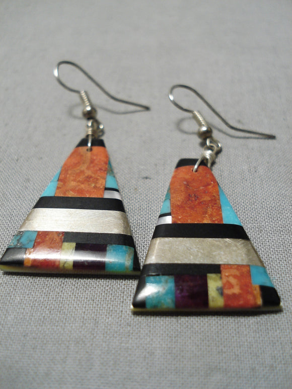 Native American Superior Vintage Santo Domingo Turquoise Sterling Silver Earrings Old