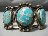 One Of Best Vintage Native American Navajo Gilber Turquoise Sterling Silver Bracelet