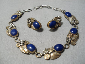 Native American Fabulous Vintage Navajo Lapis Sterling Silver Bracelet Earrings