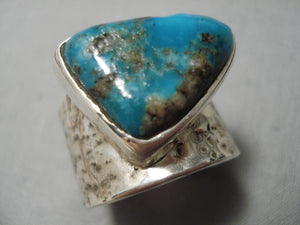 Amazing Vintage Native American Navajo Pilot Mountain Turquoise Sterling Silver Ring