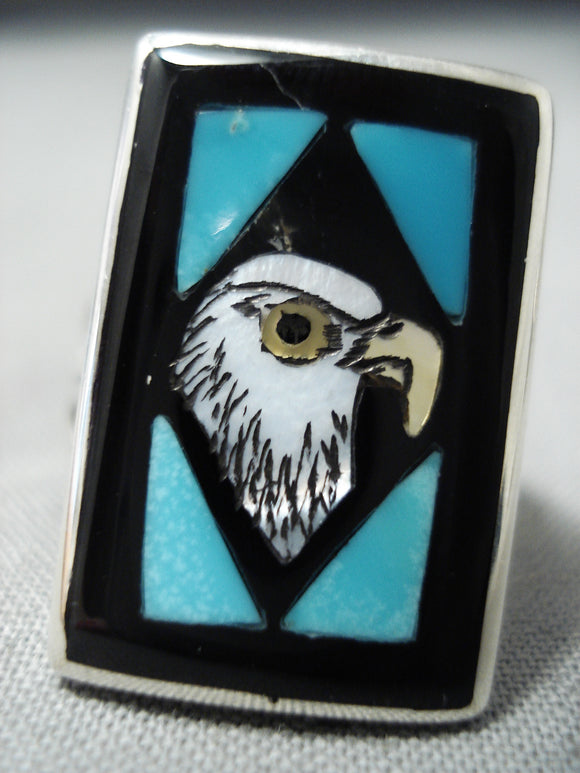 Exquisite Vintage Native American Zuni Inlay Turquoise Jet Eagle Sterling Silver Ring