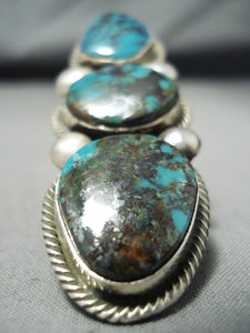 Heavy Huge Signed Native American Navajo Turquoise Sterling Silver Ring