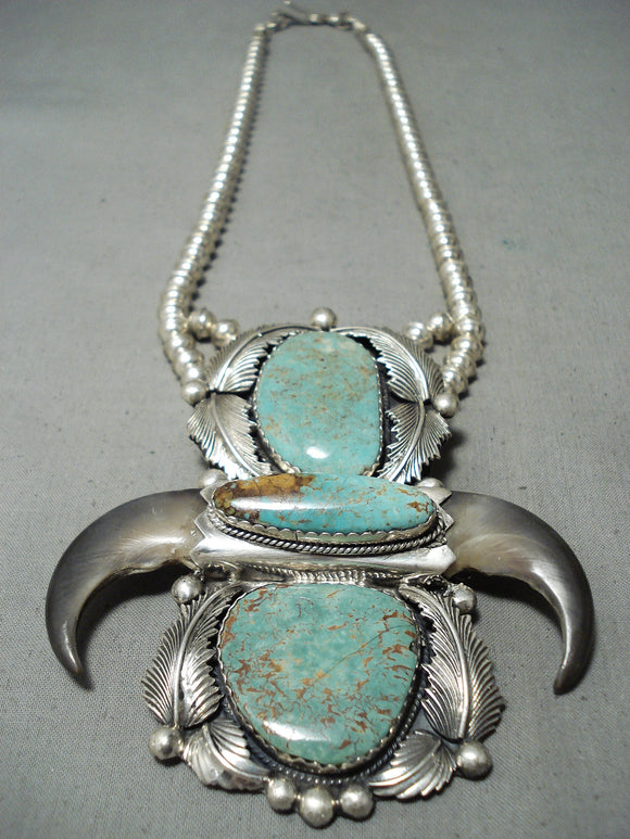 Crazy Authentic Vintage Native American Navajo #8 Turquoise Sterling Silver Bear Necklace