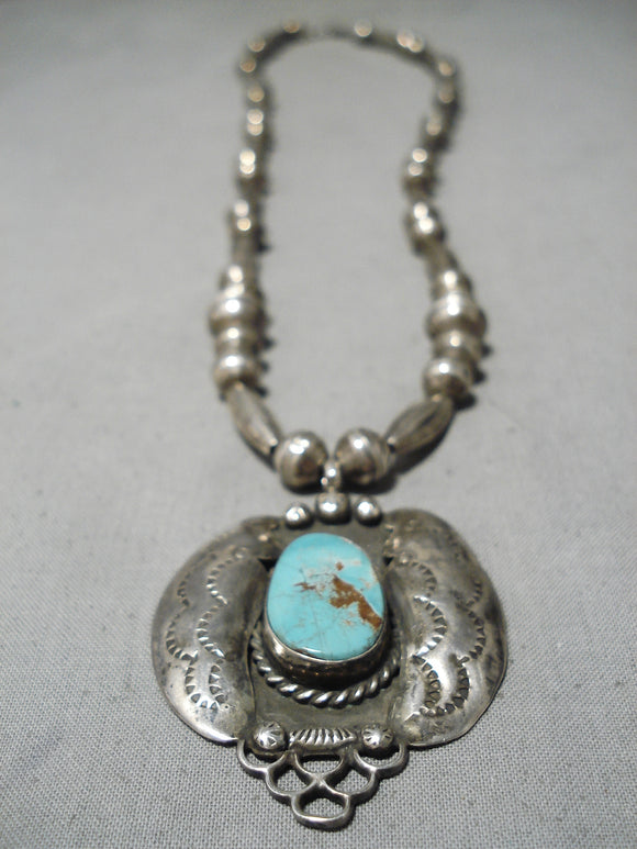 Impressive Vintage Native American Navajo Red Mountain Turquoise Sterling Silver Necklace Old
