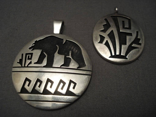 (2) Museum Vintage Hopi Wil Saufkie Native American Jewelry Silver Pendants-Nativo Arts