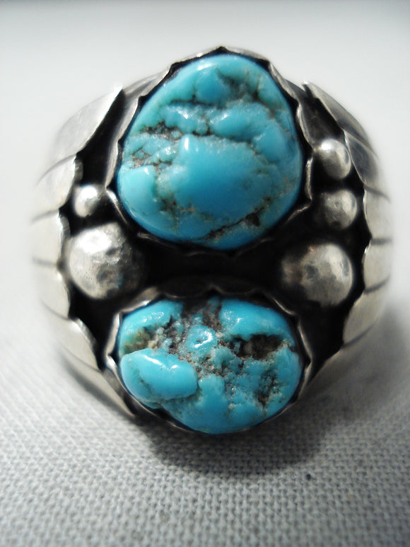 Marvelous Vintage Navajo Turquoise Sterling Silver Ring Native American Old