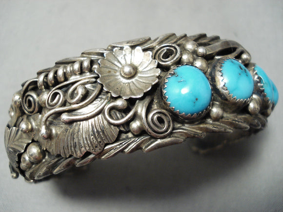 Incredible Detail Vintage Native American Navajo Blue Gem Turquoise Sterling Silver Bracelet