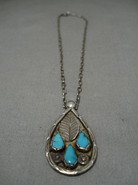 Vintage Native American Navajo Necklace Sterling Silver Blue Turquoise Turquoise Old