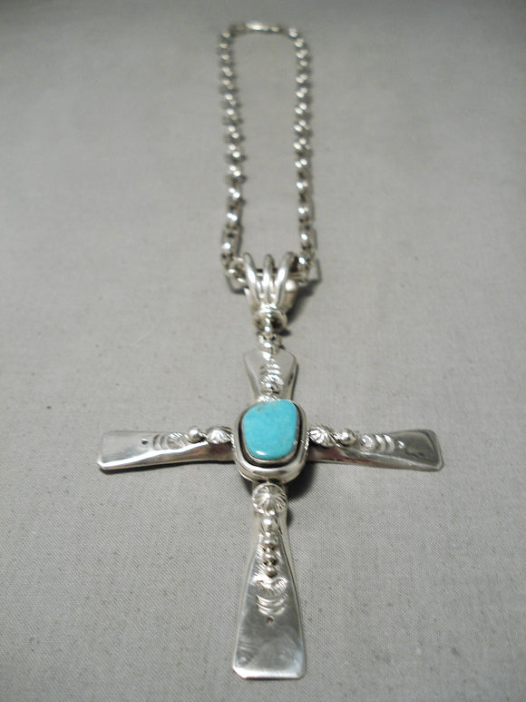Impressive Vintage Native American Navajo Old Kingman Turquoise Sterling Silver Cross Necklace