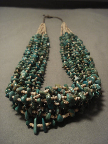 209 Gram Navajo Native American Jewelry jewelry Natural Green Turquoise Braided Necklace-Nativo Arts
