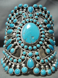 One Of The Best Ever Native American Navajo Turquoise Sterling Silver Bracelet