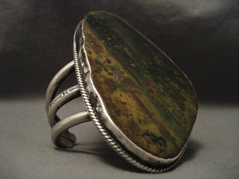 213 Gram Best Vintage Navajo Old Agate Native American Jewelry Silver Bracelet-Nativo Arts