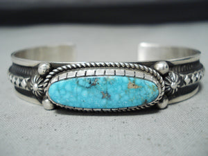 Important Al Jake Native American Navajo Turquoise Sterling Silver Shell Bracelet