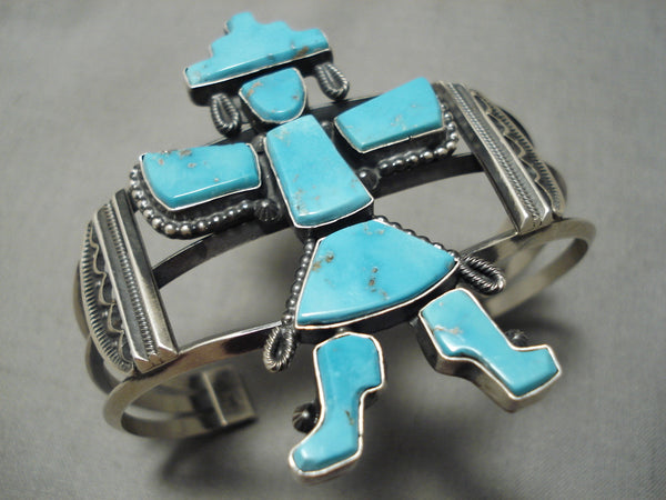 Quality Native American Navajo Freddie Maloney Kachina Turquoise Sterling Silver Bracelet