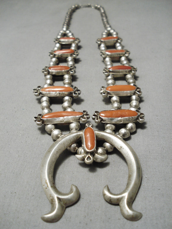 Rare Long Coral Vintage Native American Navajo Sterling Silver Squash Blossom Necklace Old