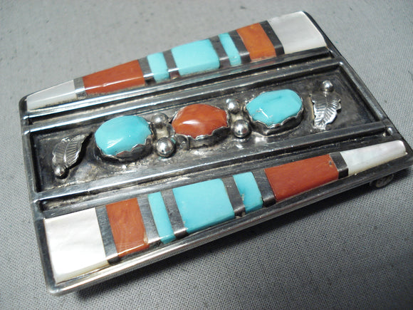 Extreme Intricacy Vintage Native American Zuni Turquoise Coral Leaf Sterling Silver Buckle