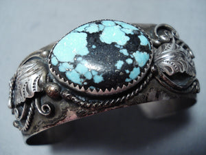 Very Rare Vintage Native American Navajo Blue Diamond Turquoise Sterling Silver Bracelet