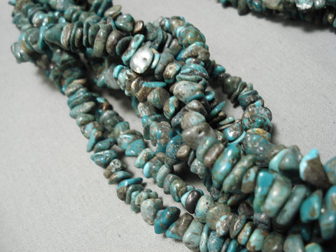 Biggest Bead Navajo Green Turquoise Sterling Silver Native American Necklace