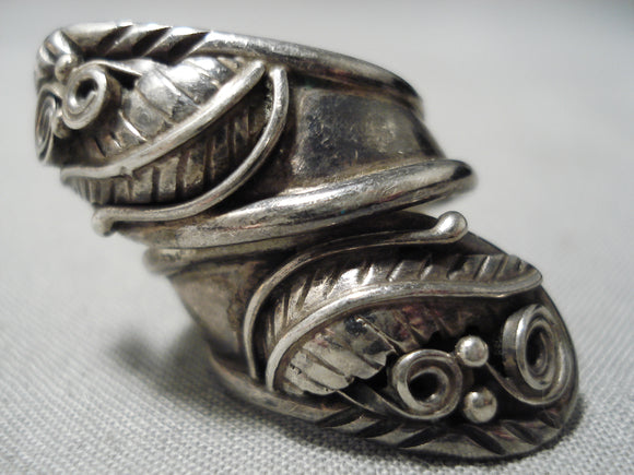 Important Earlier Adjustable Vintage Native American Navajo Sterling Silver Leaf Ring