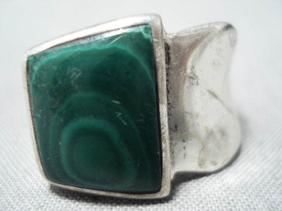 Magnificent Vintage Hopi Malachite Sterling Silver Ring Native American Old