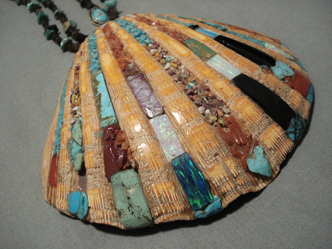 One Of The Biggest Vintage Santo Domingo Native American Turquoise Necklace