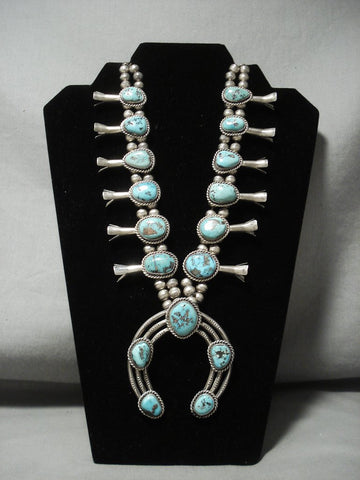232 Gram Huge Vintage Navajo Turquoise Native American Jewelry Silver Squash Blossom Necklace-Nativo Arts