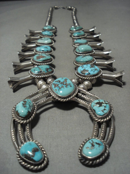 232 Gram Huge Vintage Navajo Turquoise Native American Jewelry Silver Squash Blossom Necklace
