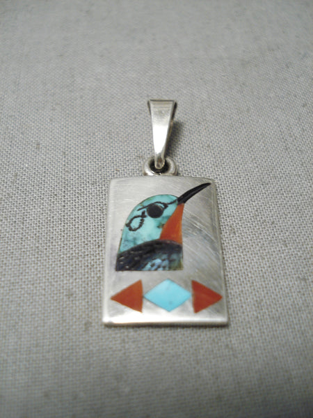 Incredible Detailed Native American Zuni Turquoise Coral Sterling Silver Bird Pendant