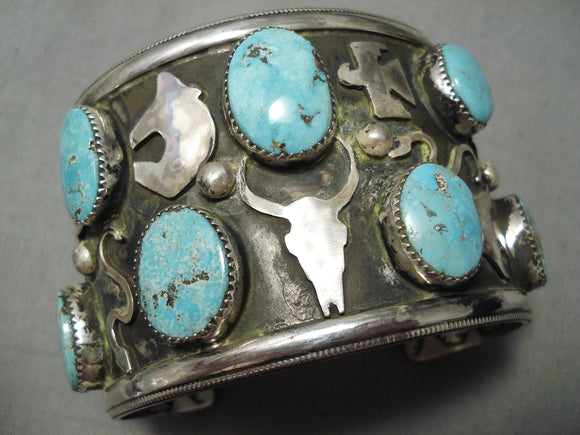 Detailed!! Modernistic Native American Navajo Animal Fetish Turquoise Sterling Silver Bracelet