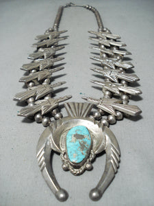 Authentic Thomas Singer Vintage Native American Navajo Sterling Silver Squash Blossom Necklace